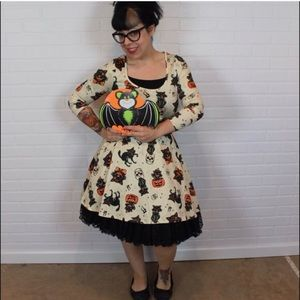 c0c8525ba4 Sourpuss Dresses - Sourpuss Black Cats Skater Dress Cream L Halloween