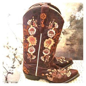 Brown Macie Bean floral Cowboy Boots