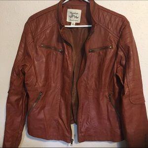 Maralyn & Me Jackets & Blazers - Walnut brown faux leather moto jacket