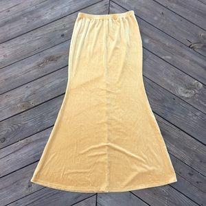 {Crimson & Clover} Gold Velvet Mermaid Maxi Skirt