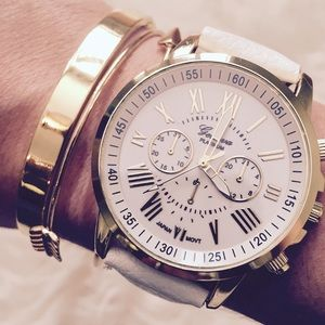 White Face Gold Hardware Roman Numeral Large Warch
