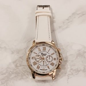 White Face Gold Hardware Roman Numeral Large Watch