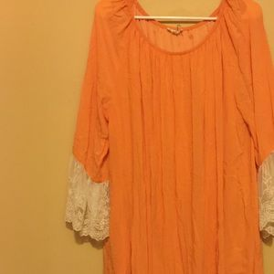 Dresses & Skirts - Beautiful Sherbet Orange and Off White Lace Dress