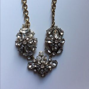 J Crew brass and crystal statement necklace