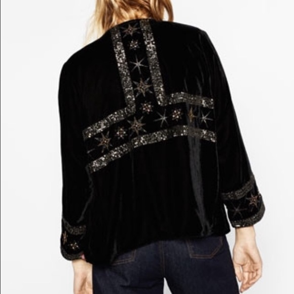 37 Off Zara Jackets Amp Blazers  Embroidered Stars Velvet