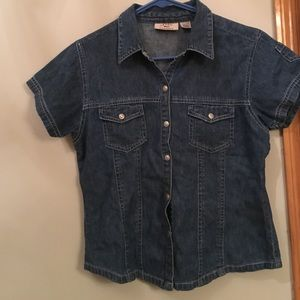 At Last Tops - Denim snap button shirt.
