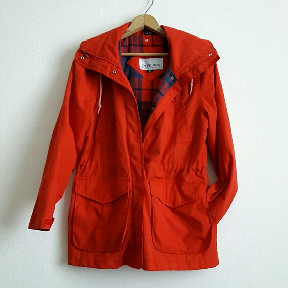 Vintage - Vintage Anorak Rain Jacket Red Flannel Lined from ...