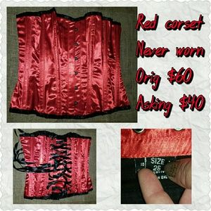 Steel Boned Red Corset, Brand New!!