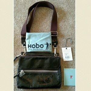 Hobo ashton crossbody glazed black leather bag