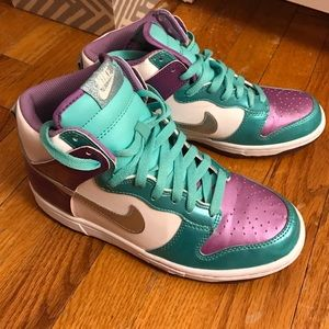 official photos f233f cefb3 Nike Shoes - White purple and turquoise high top Nike dunks