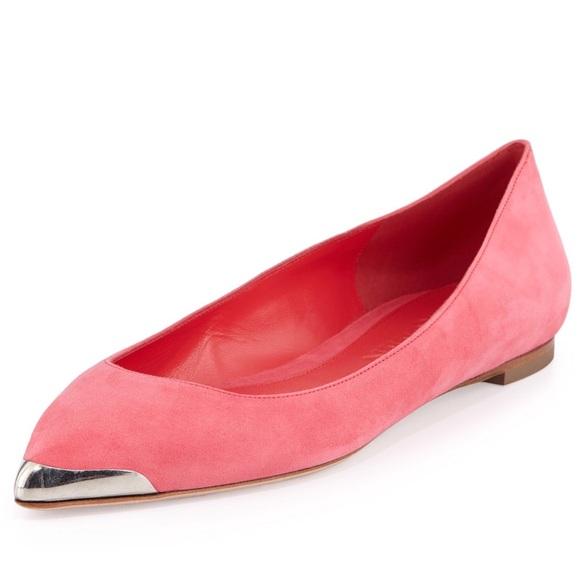 8e923c5b5 Alexander McQueen Shoes - Alexander McQueen Suede Metal-Tipped Skimmer Flats