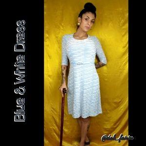 Dresses & Skirts - blue & white long dress w belt