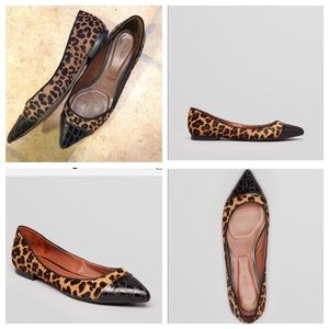 Rachel Roy Shoes - Leopard Print Black Croc Captoe Flats