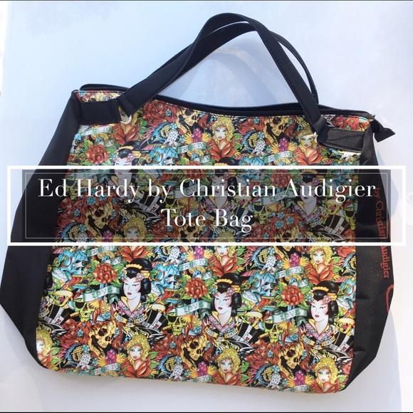 580728e1a1 Christian Audigier Handbags - Christian Audigier Geisha Large Tote Bag