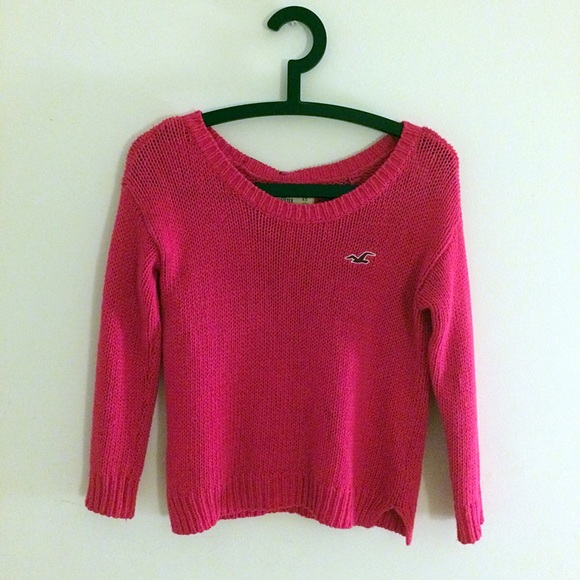 36% off Hollister Sweaters - Hollister Hot Pink Knit Sweater XS ...