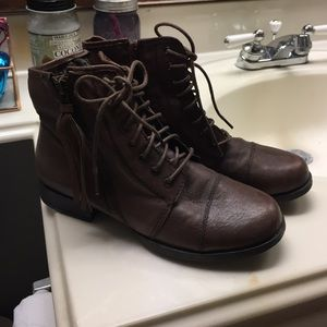 Brown zip up ankle booties