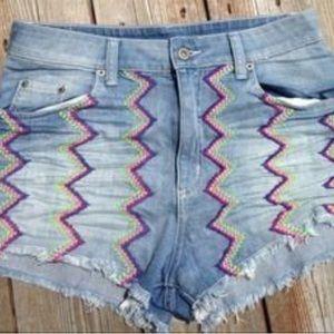LF Pants - LF carmar zig zag denim Jean shorts