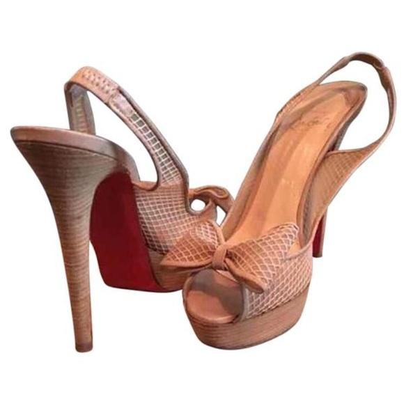 d14f0358426 Christian Louboutin Fishnet Bow Slingback Heels