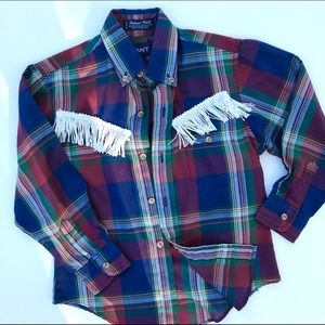 Gant Other - Adorable cowboy fringe plaid button down sz 7