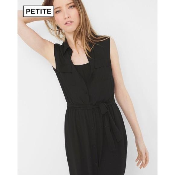 7fae1a13345 WHBM Black Sleeveless Shirtdress Petite
