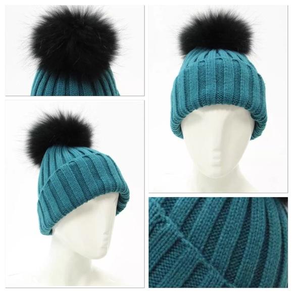 5064e0be1c3 Bogner Accessories - Bogner Turquoise   Fur Pom Pom Hat   Ski Beanie