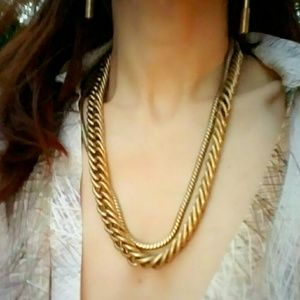 Heavy Vintage Large Multi-Chain Brass Necklace