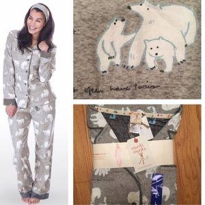 Munki Munki Other - Munki Munki Polar Bear Flannel Pajamas