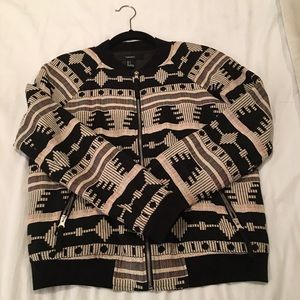 Tribal Print Bomber Jacket