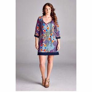 Dresses & Skirts - Plus size navy contrast print tunic dress