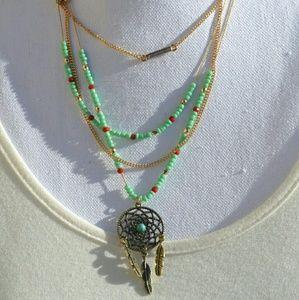 << Mint Bead Dreamcatcher Feather Necklace Set >>
