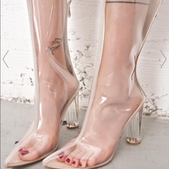 eaa0e5e562a Kanye West Inspired Clear Boot Heels