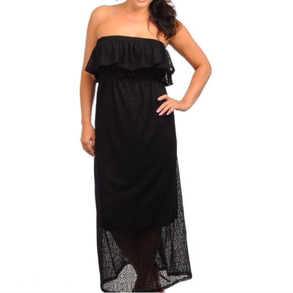 ***Plus Size*** Black Strapless Maxi Dress Boutique