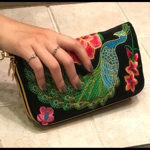 Embroidered clutch wallet peacock