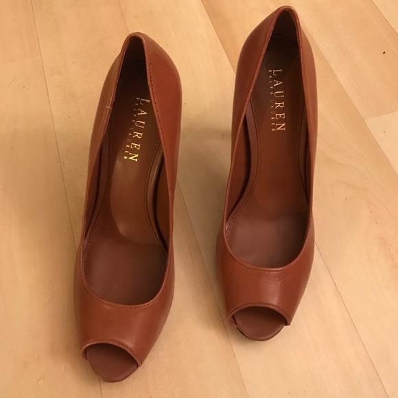 b8f764507d0 Brown Ralph Lauren leather heels