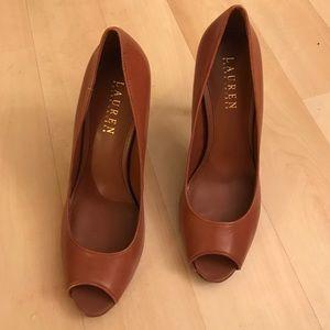 Brown Ralph Lauren leather heels