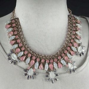 Pink and blue statement necklace