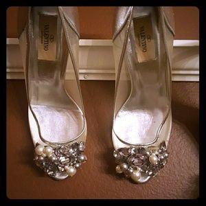 Valentino Shoes - Silver mesh pearl rhinestone pumps