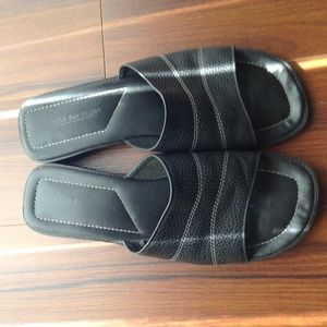 Shoes - Black Leather Mules - Price Firm