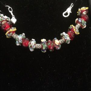 One of a kind Murano beads silver bracelet