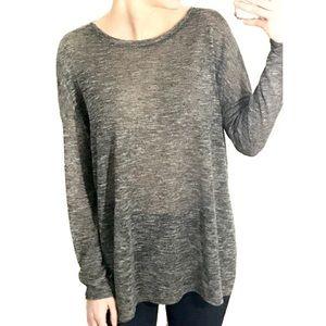 Side Slit Long-Sleeve Knit Top