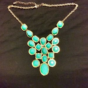 turquoise colored gemstone statement necklace os from lori