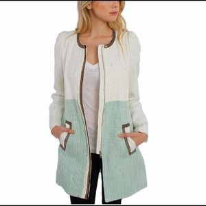 Vintage style classic two tone mint tweed coat