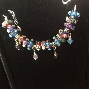 Jewelry - Murano beads on a silver bracelet