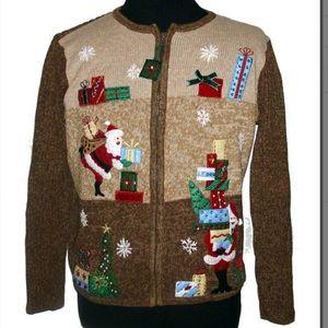Ships Immediately! Brown zip up Santa sweater #45