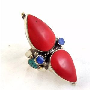 Jewelry - Rare antique silver rings with double stone