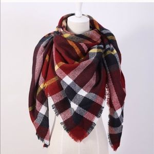 NEW Red Plaid Blanket Scarf