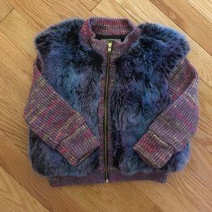 Little Mass Other - Little Mass girls faux fur sweater jacket 4t