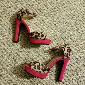 traffic Shoes - Cheetah/Leapord Pink Platform Heels sz 8