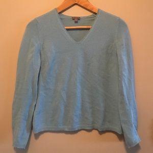 Ann Taylor M 100% cashmere blue V-neck sweater