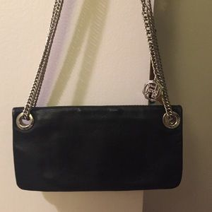 Henri Bendel black leather mini clutch